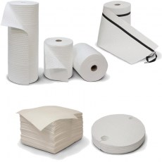 Oil-only absorbent pads and rolls